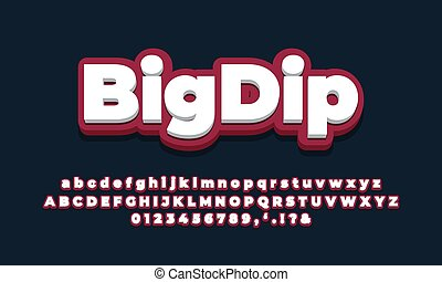 dark red white 3d  font effect or text styles design