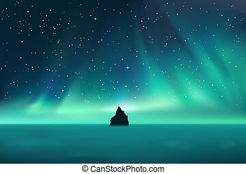 Dark rock against northern lights landscape with stars