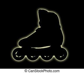 Dark roller-skate boot - Roll skate boot shining in the dark