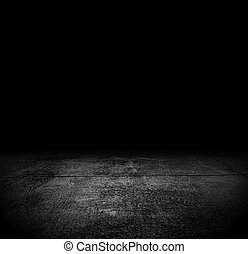 An Empty Grunge Cement Floor In The Dark For Horror Or Scary Background