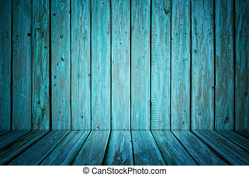 dark room interior with blue painted wooden walls and floor