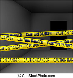 Dark room with danger tape - Dark room with caution and ...