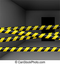 Dark room with danger tape - Dark room with yellow and black...
