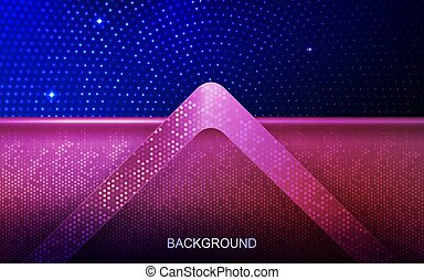 Dark saturated blue design with a shiny pink frame and arrow with a sparkling mosaic