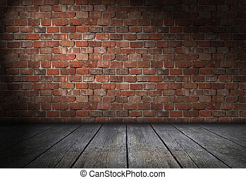 Dark scene with spotlight on red brick wall background....