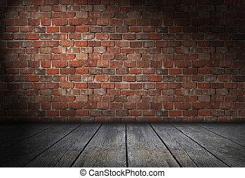 Dark scene with spotlight on red brick wall background....