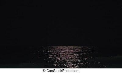 Dark sea and black sky at night - Night black sky and dark...