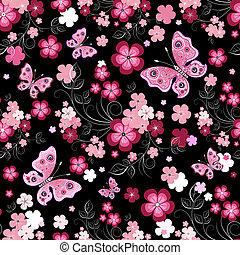 Dark seamless floral pattern with flowers and butterflies...