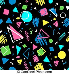 Dark seamless geometric 1980s styled pattern with triangles, circles, squares and doodles.