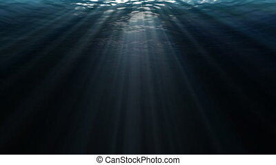 Dark seamless looping Underwater scene with Rays of sunlight