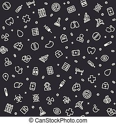 Dark Seamless Medical Pattern. Isolated on White Background....