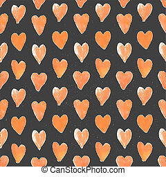 Dark seamless pattern of hand drawn red hearts