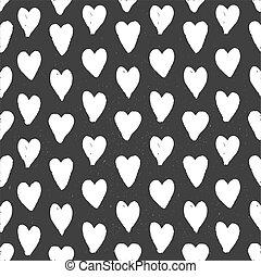 Dark seamless pattern of hand drawn white hearts