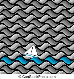 Dark seamless pattern of waves with paper yacht