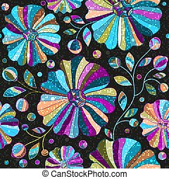 Dark seamless pattern with colorful flowers