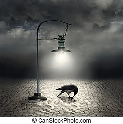 Dark side - Beautiful artistic image with a streetlight that...