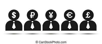 dark silhouette of a man with currency symbols.