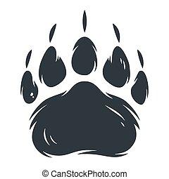Dark silhouette of bear or pet paw footprint