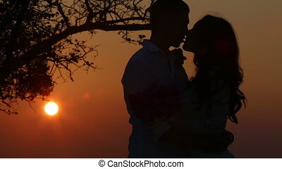 dark silhouette of girl and guy kiss under tree