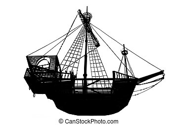 ancient sailing ship - Dark silhouette of the ancient...