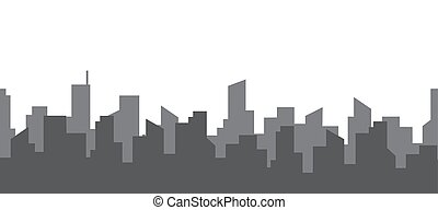 Dark silhouette of two streets of a big city. Seamless horizontal pattern. Skyscrapers on a background of clear sky with copy space. Vector flat style illustration