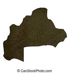 Dark silhouetted map of Burkina