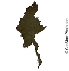 Dark silhouetted and textured map of Burma isolated on white background.