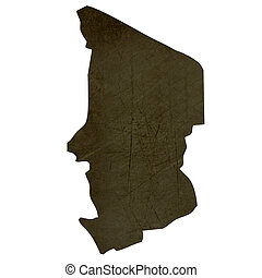 Dark silhouetted map of Chad