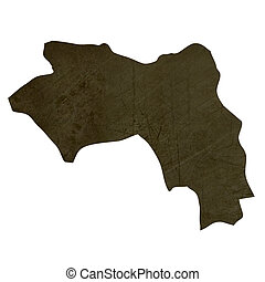 Dark silhouetted map of Guinea