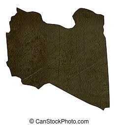 Dark silhouetted map of Libya