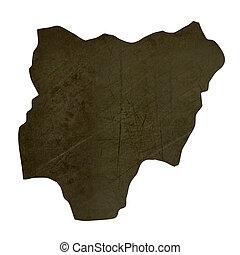 Dark silhouetted map of Nigeria