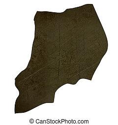 Dark silhouetted map of Uganda - Dark silhouetted and...