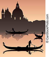 dark silhouettes against the background of Venetian gondoliers of the urban landscape