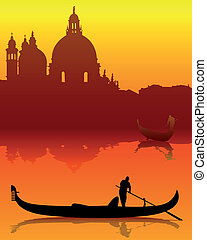silhouettes of Venice - dark silhouettes of Venice on an...