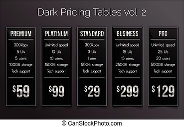 Dark & silver pricing tables