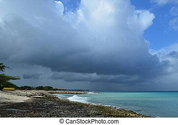 Dark Skies in Aruba Over the Coastline