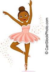 Cute dark skinned ballerina dancing