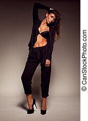 Dark-skinned busty fashion model - Beautiful dark-skinned...