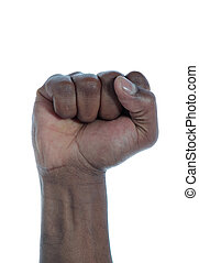 A dark-skinned human fist. All on white background.