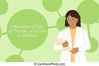 Dark-skinned girl chemist with a folder. International Day of Women and Girls in Science. Woman chemist. Woman scientist. Illustration with the ability to change colors. Flat style. Abstract background