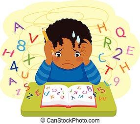 Dark skinned kid struggling at school