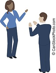 Dark-skinned woman and fair-skinned man communicate with each other. Isometry illustration