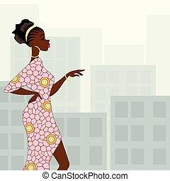 Dark-skinned woman in the city