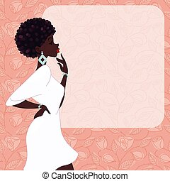 Illustration of a fashionable, dark-skinned woman with natural hairstyle, against a background of roses. Graphics are grouped and in several layers for easy editing. The file can be scaled to any size.
