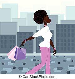 Dark-skinned woman shopping