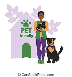 Dark-skinned woman with cat and dog. Background house with pet friendly sign and dog foot print Flat vector illustration