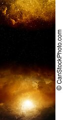 Abstract vertical background - dark red sky with sun and stars. Elements of this image furnished by NASA