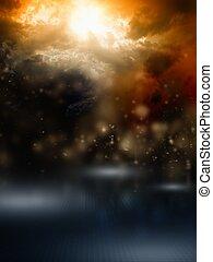 Dark sky - Apocalyptic background - dark dramatic sky,...