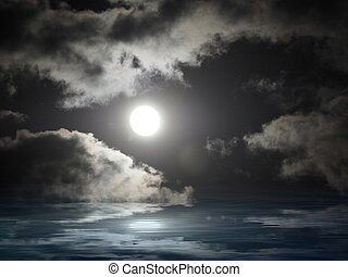 Dark sky with full moon in sea reflection