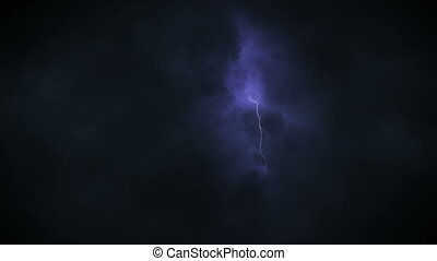 Dark Sky with Severe Clouds and Lightning at Night Time...
